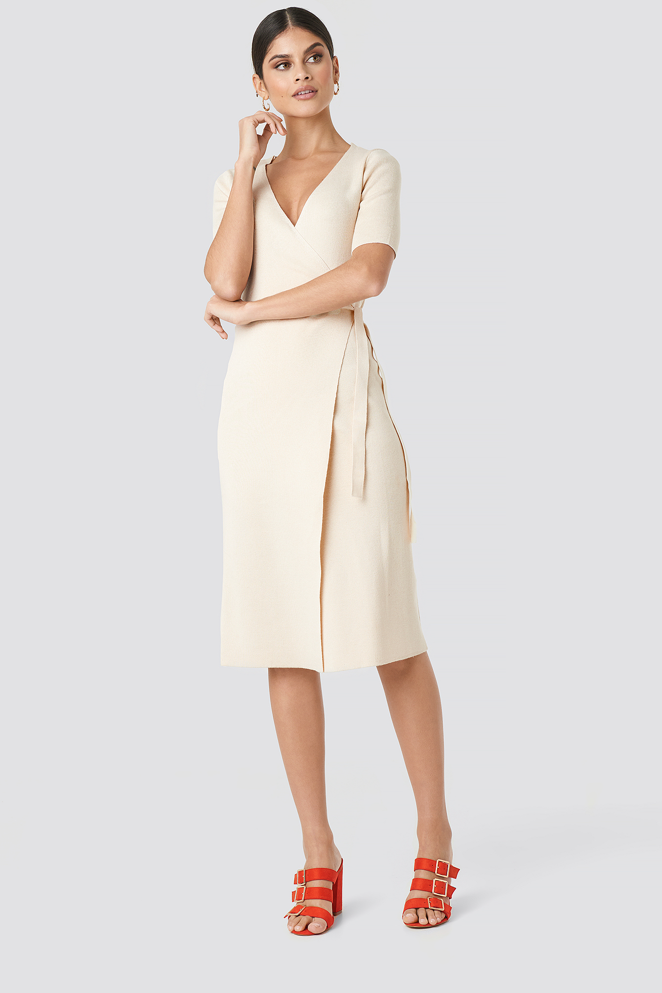 Ribbed Wrap Midi Dress NA-KD.COM