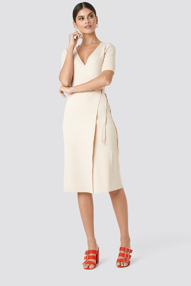 Ribbed Wrap Midi Dress Offwhite