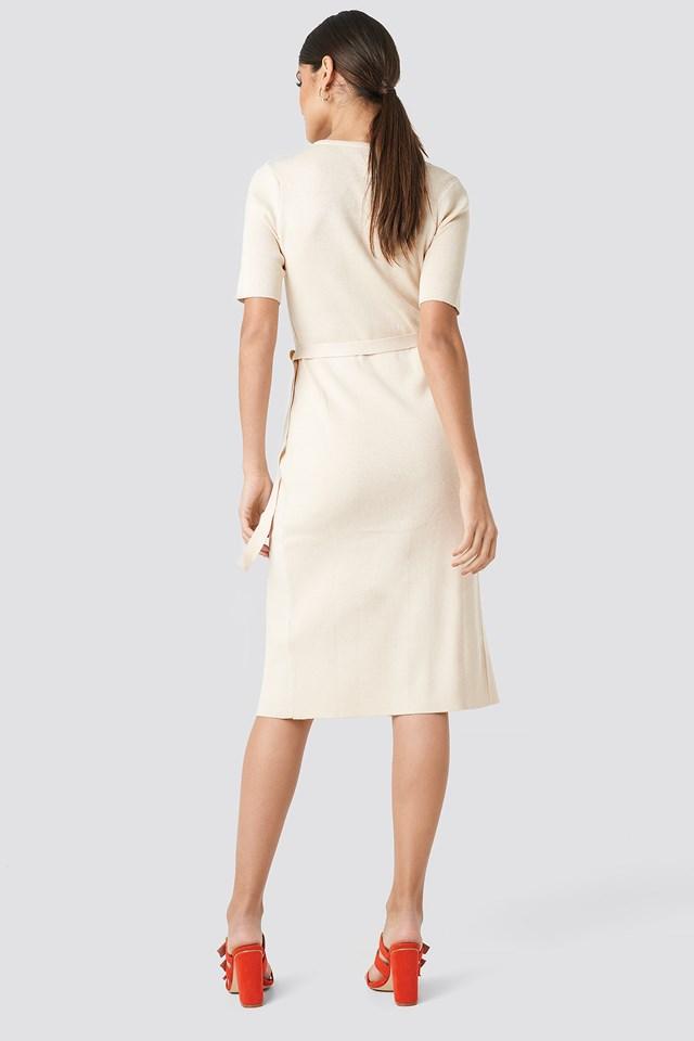 Ribbed Wrap Midi Dress Offwhite