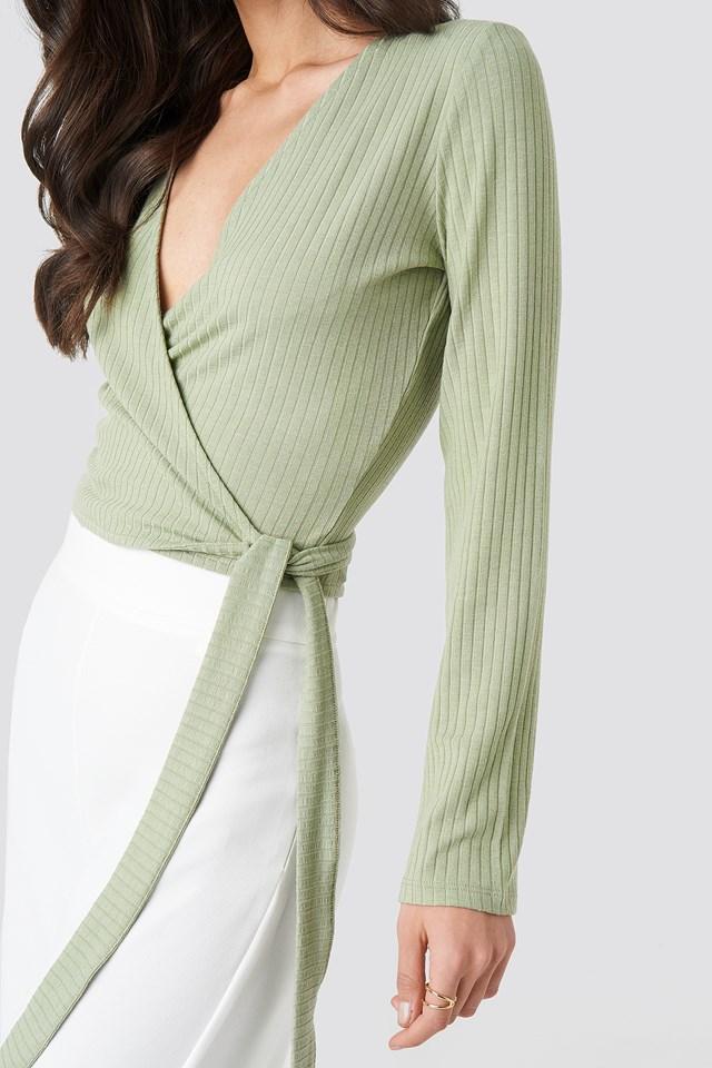 Ribbed Wrap Tie Top Light Khaki