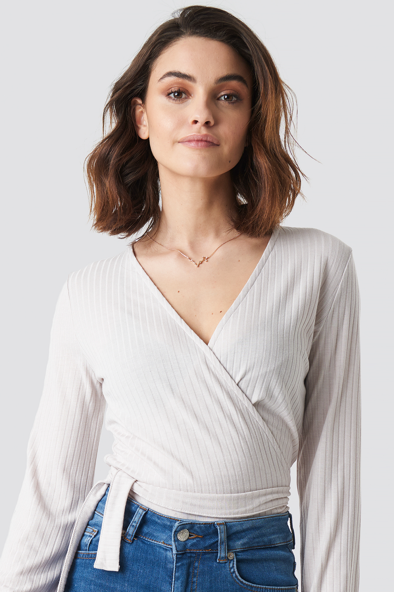 Ribbed Wrap Tie Top NA-KD.COM