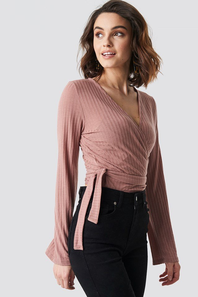 Ribbed Wrap Tie Top Dusty Dark Pink