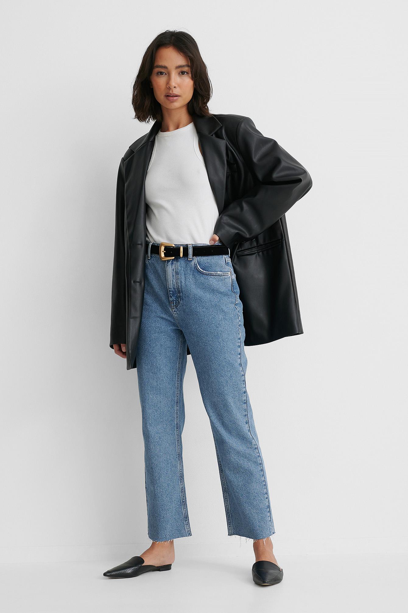NA-KD Reborn Økologiske Højtaljede Jeans Med Lige Ben - Blue
