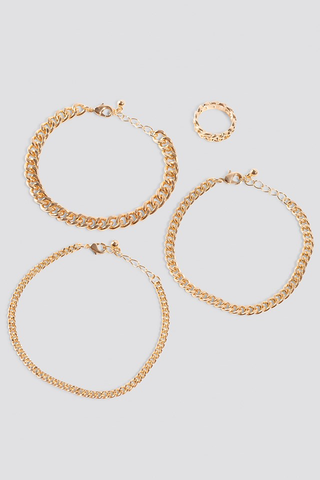 Ring and Bracelets Chain Set Gold