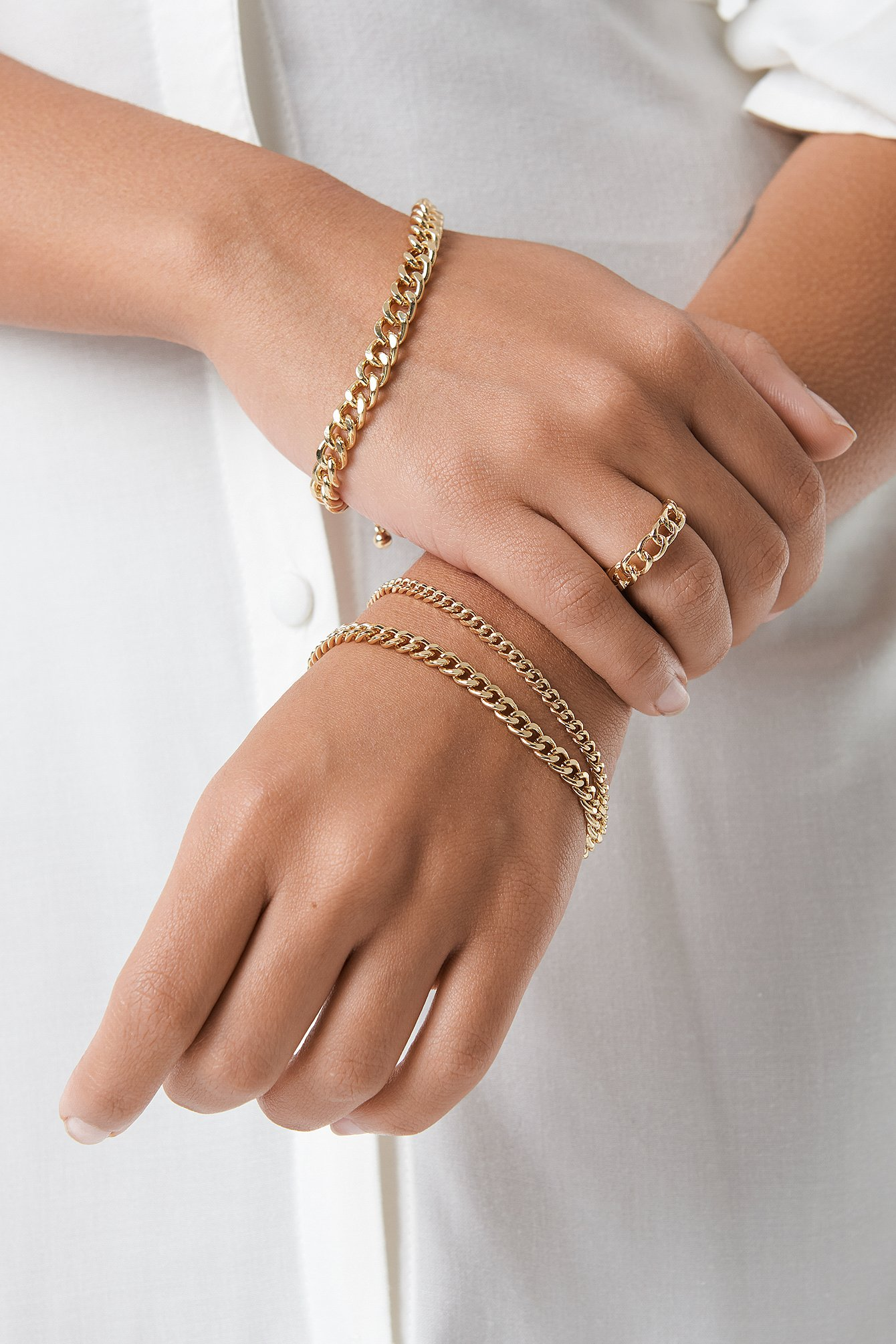 na-kd accessories -  Ring and Bracelets Chain Set - Gold