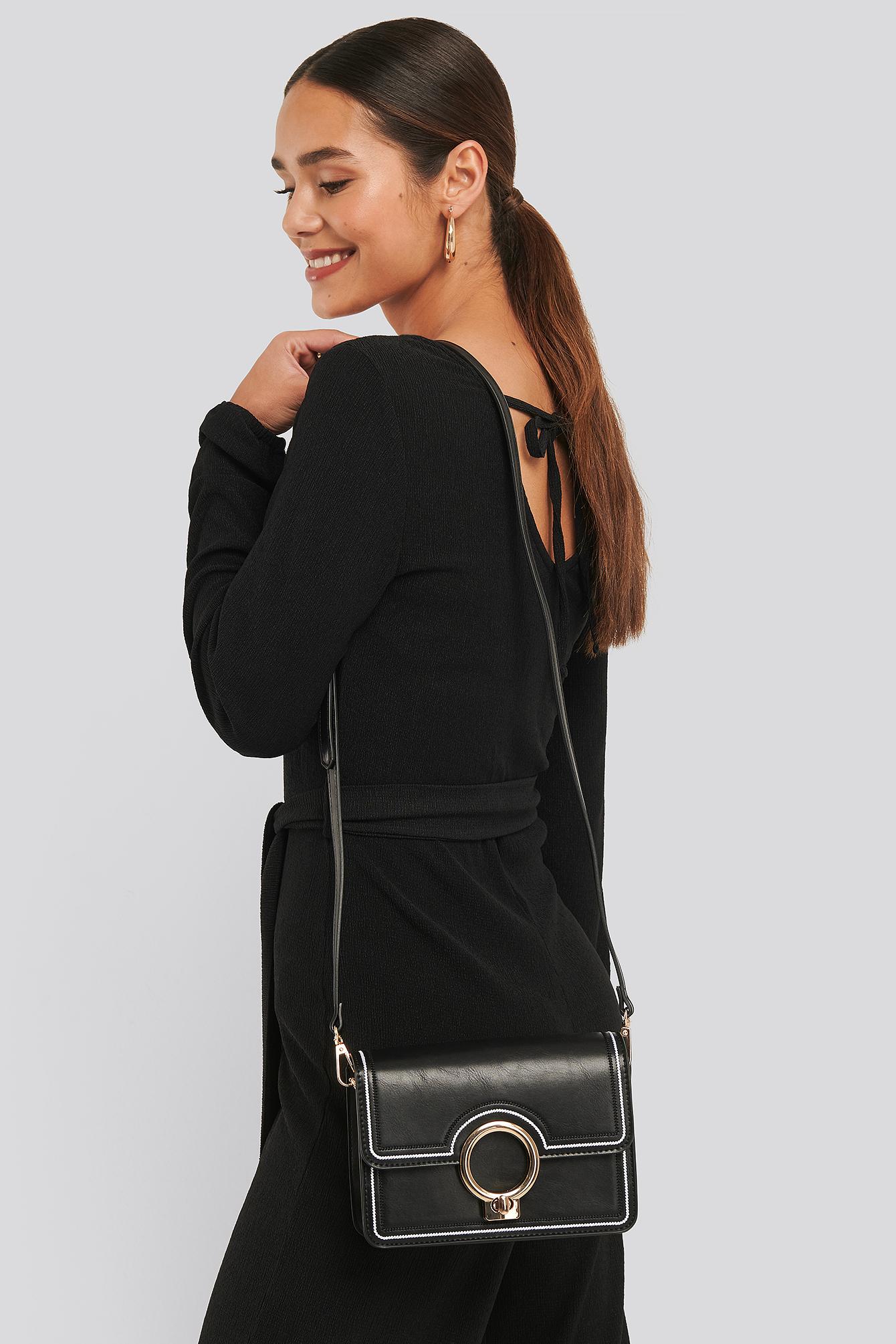 NA-KD Accessories Ring Closure Crossbody Bag - Black | Taschen > Handtaschen > Umhängetaschen | NA-KD Accessories