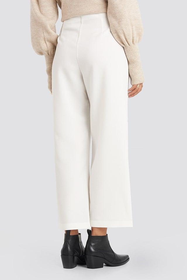 Ring Detail Wide Pants White