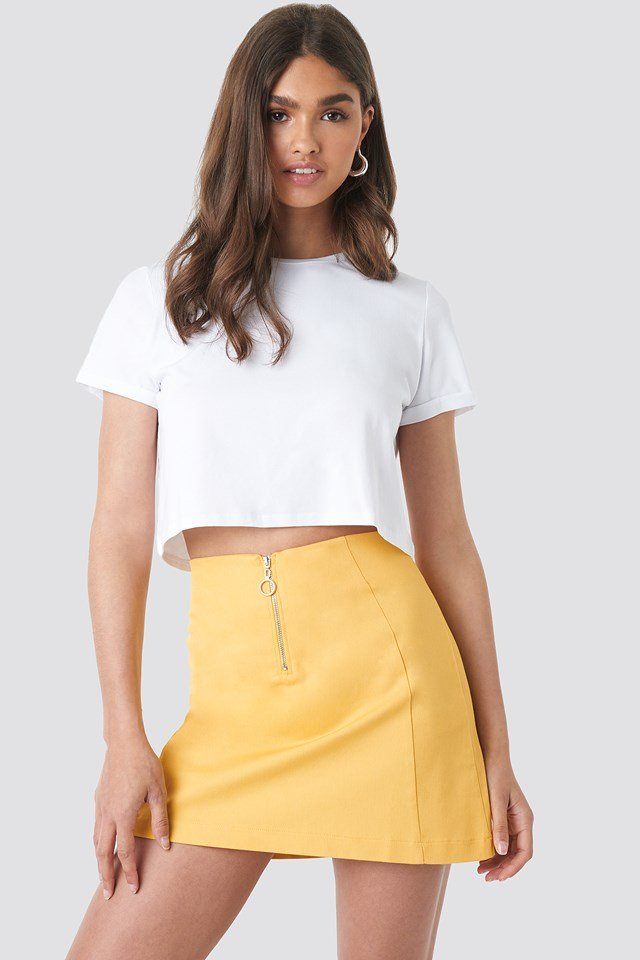 Ring Puller A-Line Mini Skirt Yellow