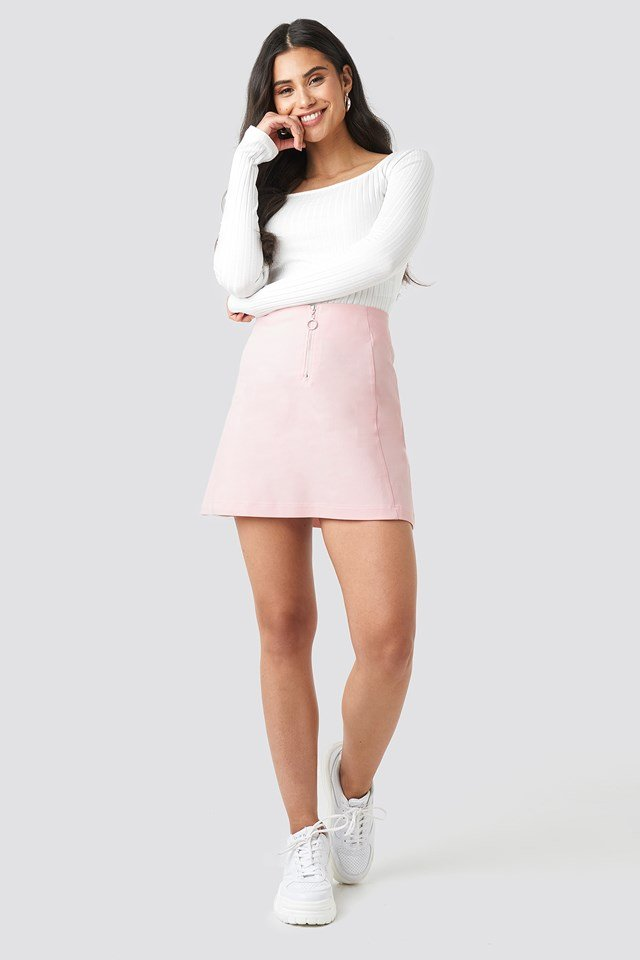 Ring Puller A-Line Mini Skirt Pink