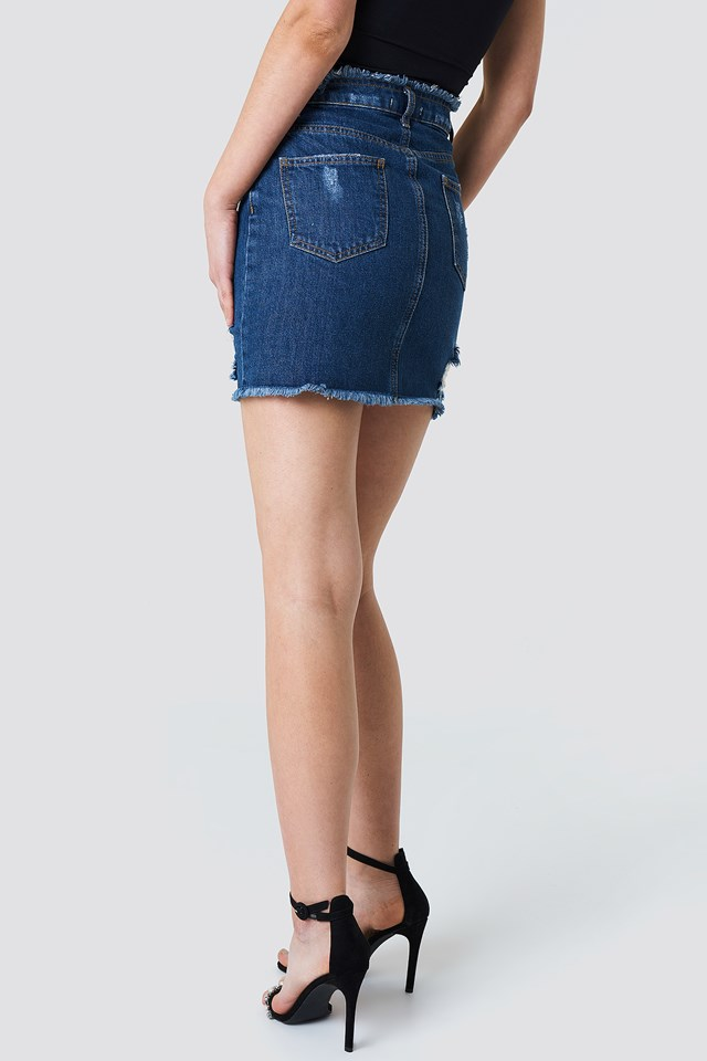 Ripped Front Slit Denim Skirt Dark Blue