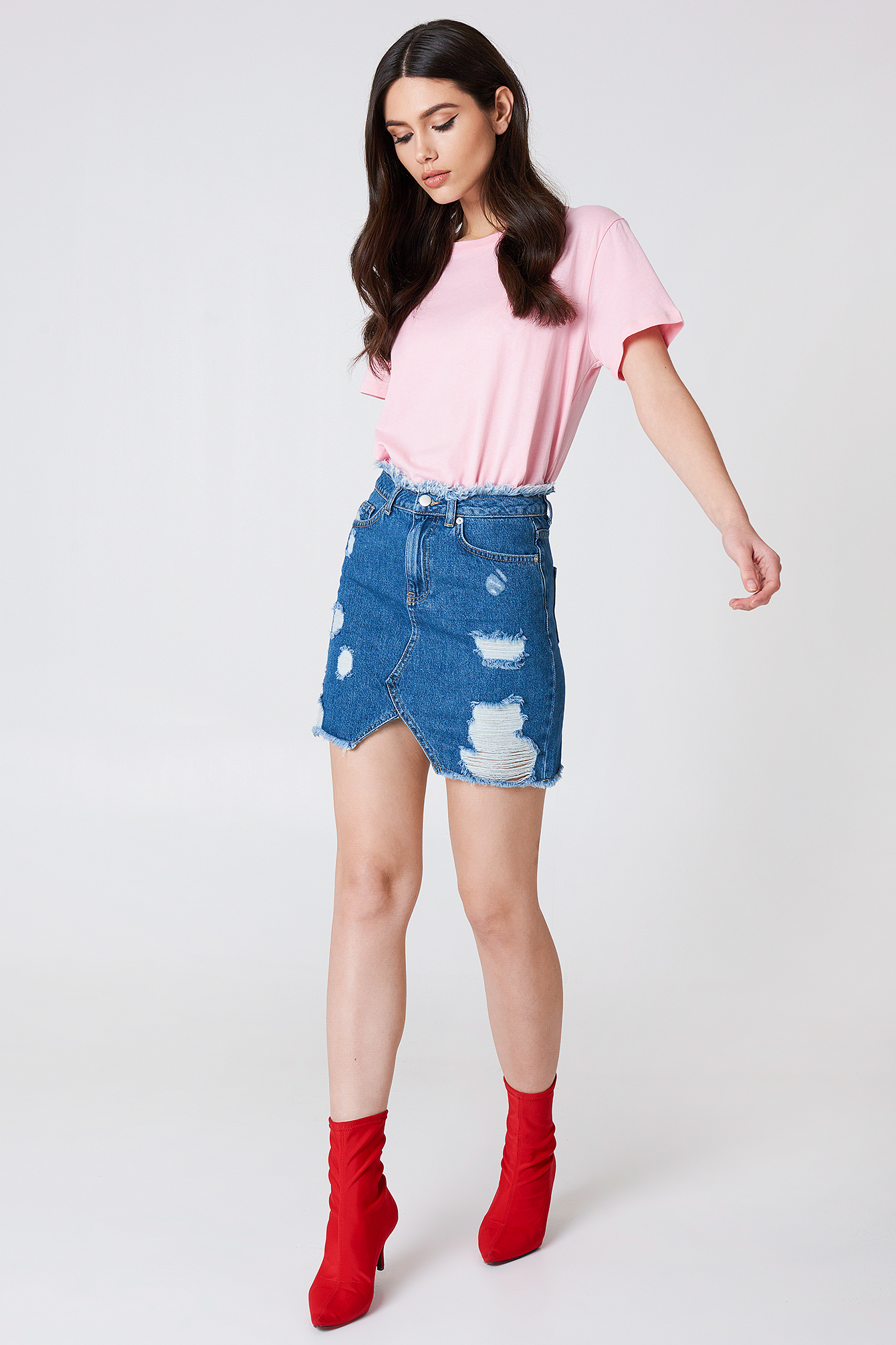 Ripped Front Slit Denim Skirt NA-KD.COM