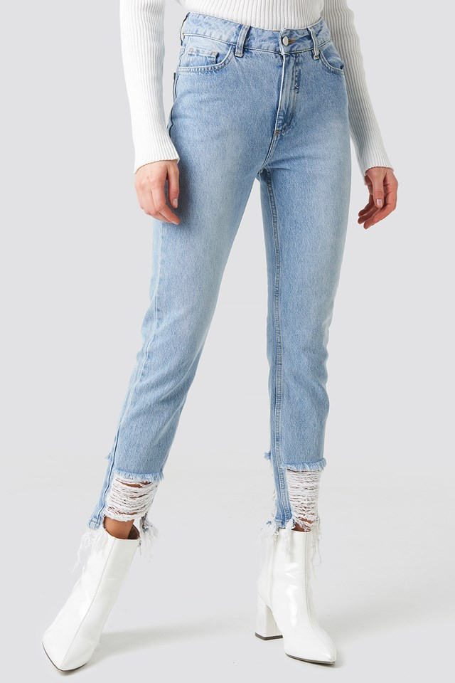 Ripped Hem Jeans Light Blue