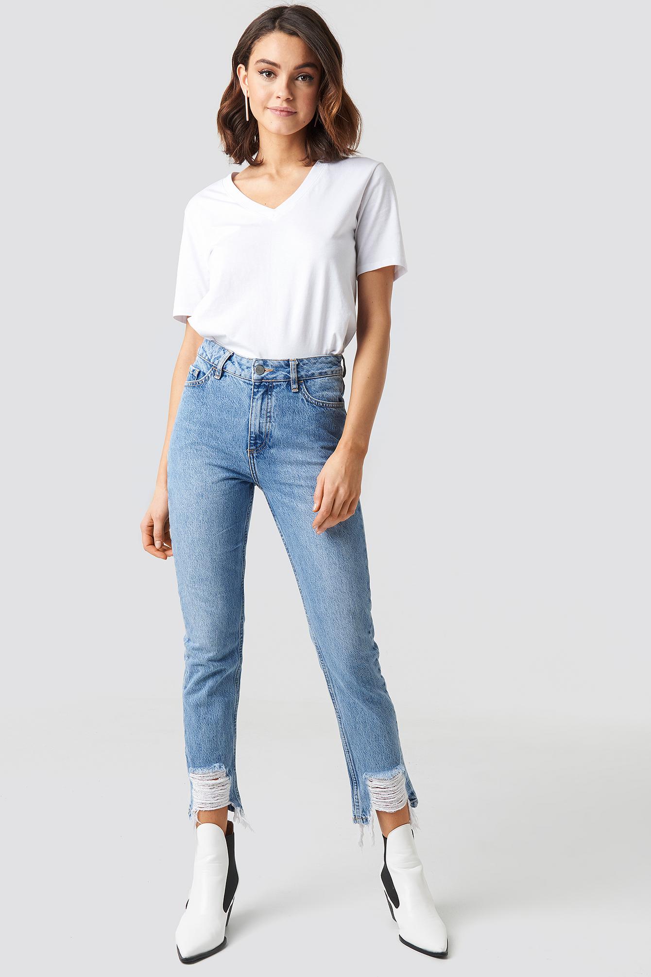 Ripped Hem Jeans NA-KD.COM