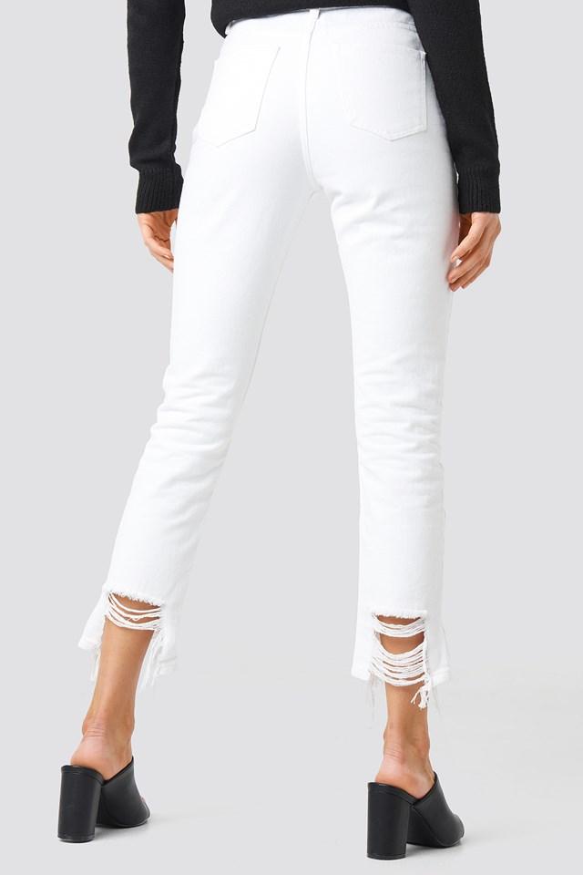 Ripped Hem Jeans White