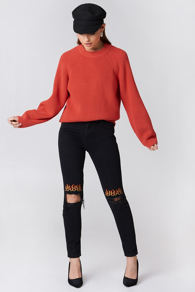 Ripped Knee Flame Embroidery Jeans Black