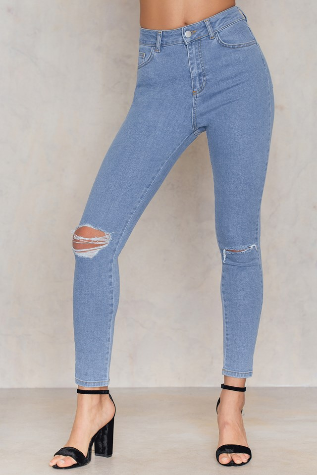 Ripped Knee Skinny Highwaist Jeans Mid Blue