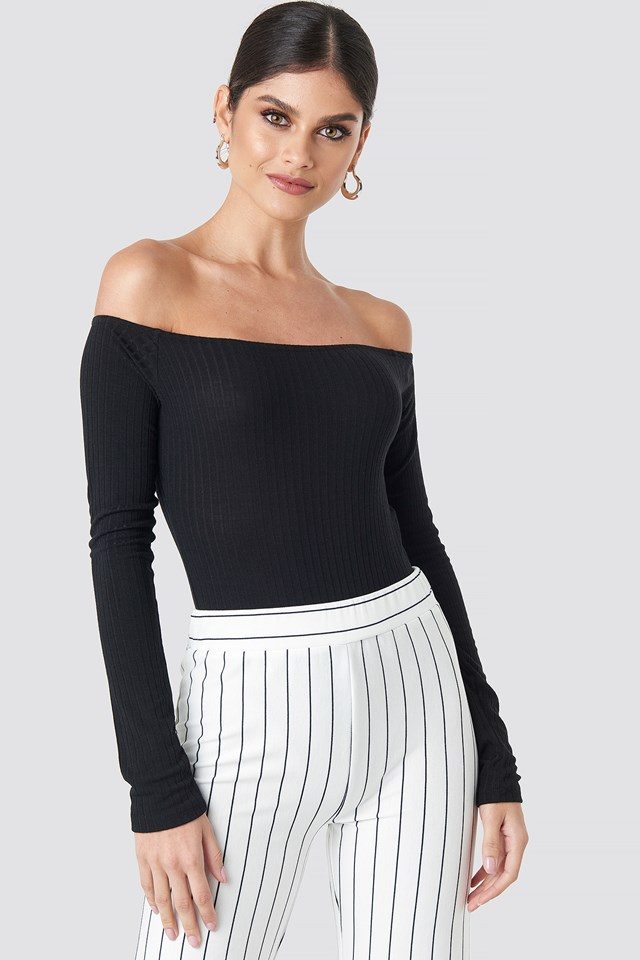 Ribbed Off Shoulder Body Black