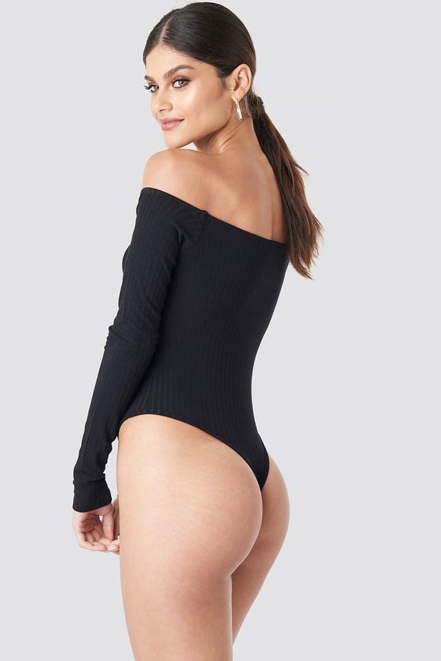 Ribbed Off Shoulder Body Black