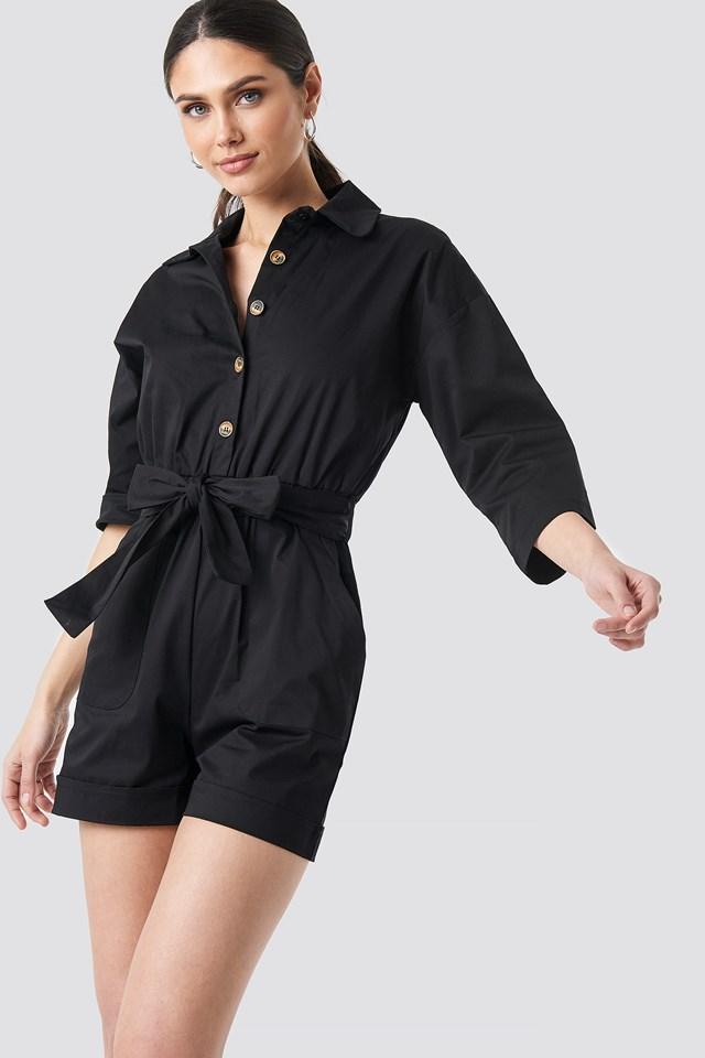 Waist Pleated Jumpsuit Black