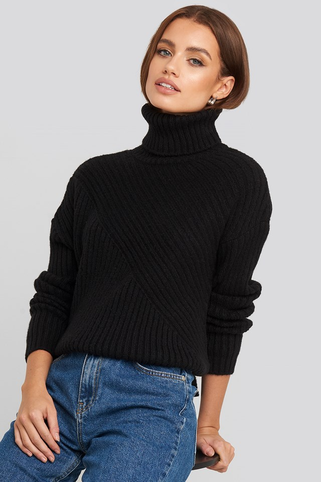 Roll Neck Asymmetric Rib Sweater NA-KD