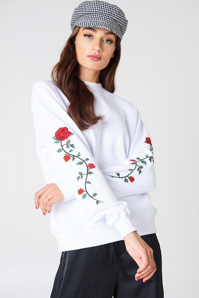 Rose Embroidery Sleeve Sweater White
