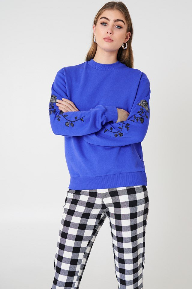 Rose Embroidery Sleeve Sweater Cobolt