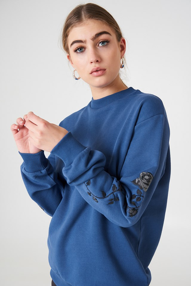 Rose Embroidery Sleeve Sweater Dark Dusty Blue
