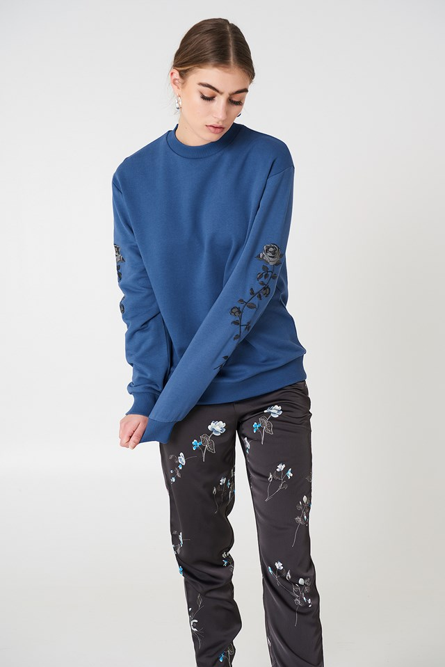 Rose Embroidery Sleeve Sweater Dark Dusty Blue