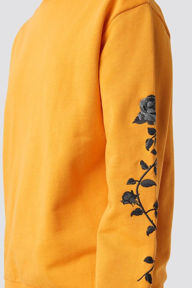 Rose Embroidery Sleeve Sweater Orange