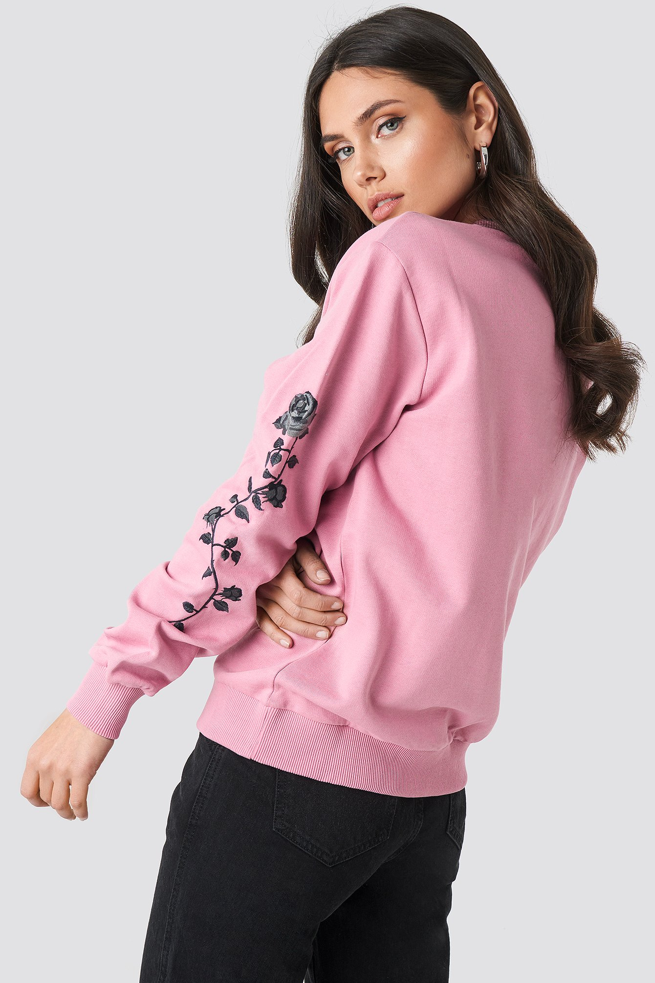 Pink Rose Embroidery Sleeve Sweater