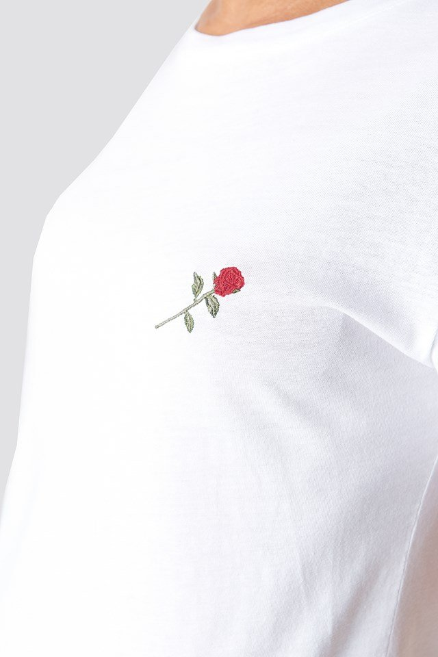 Rose Embroidery T-shirt Dress White