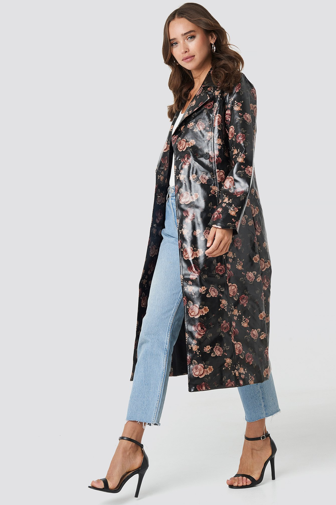 na-kd trend -  Rose Printed PU Jacket - Black