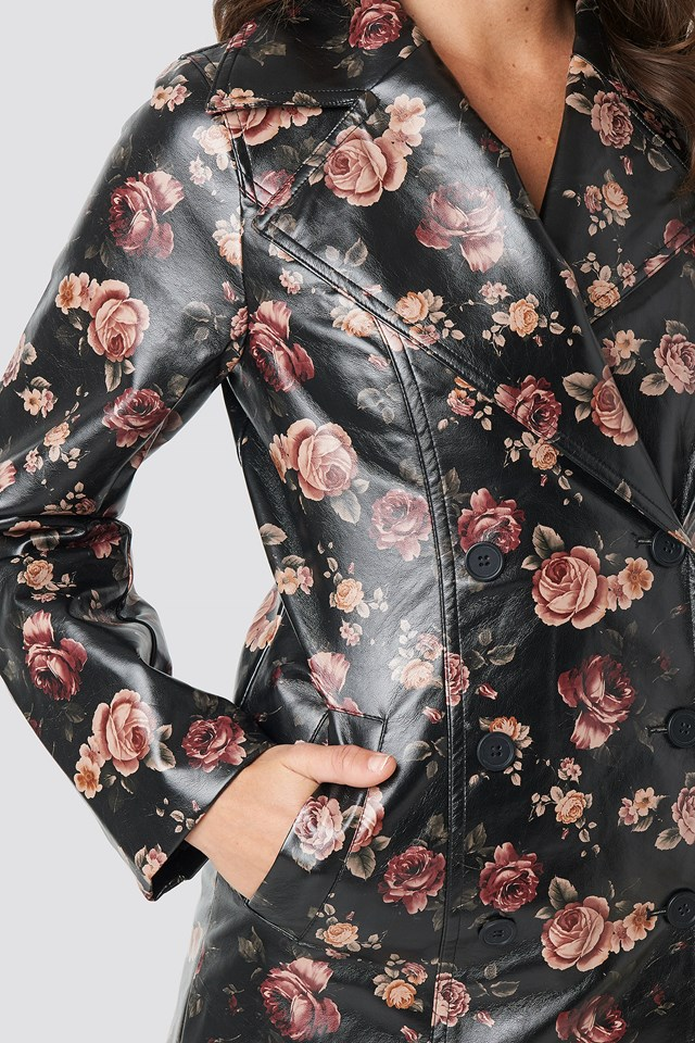 Rose Printed PU Jacket Rose Print