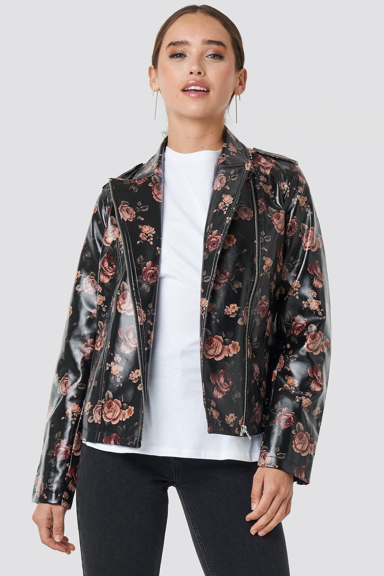 na-kd -  Rose Printed PU Short Jacket - Black