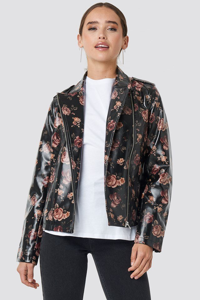 Rose Printed PU Short Jacket NA-KD.COM