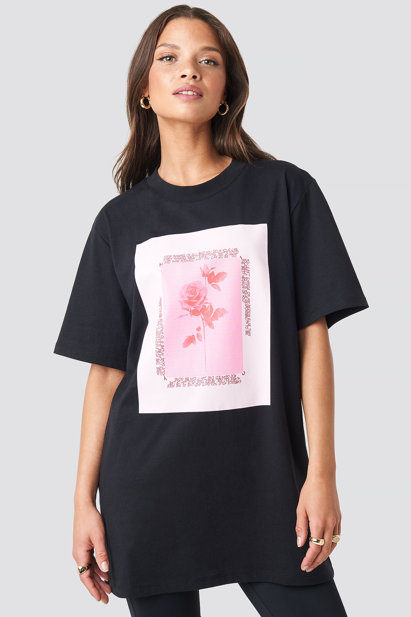 na-kd trend -  Rose Printed Tee - Black