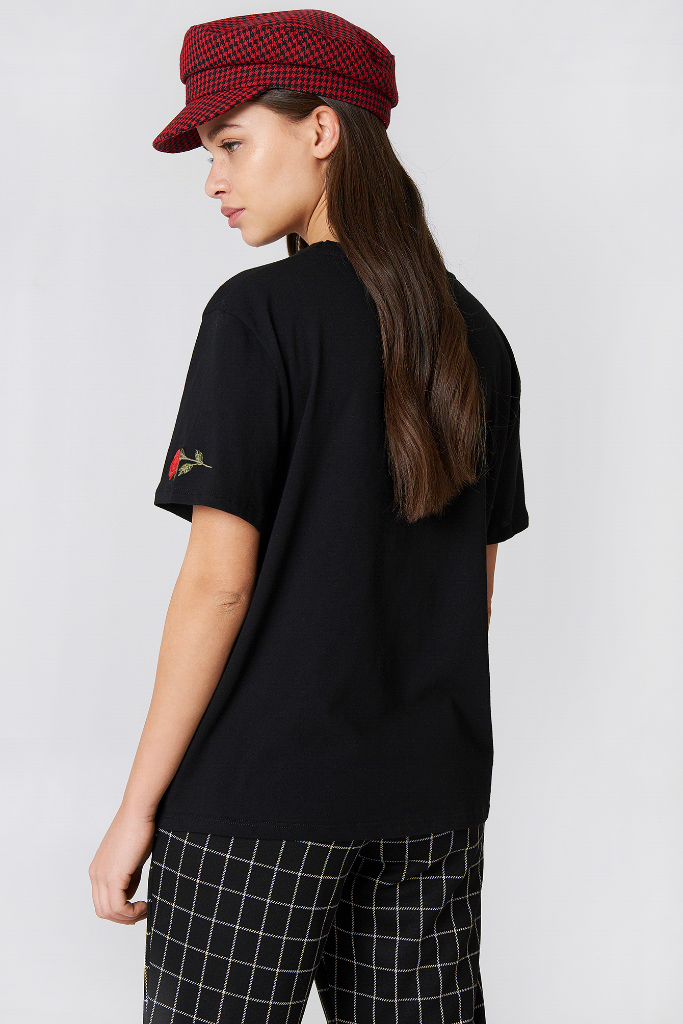 T-shirt Rose Sleeve Embroidery NA-KD.COM