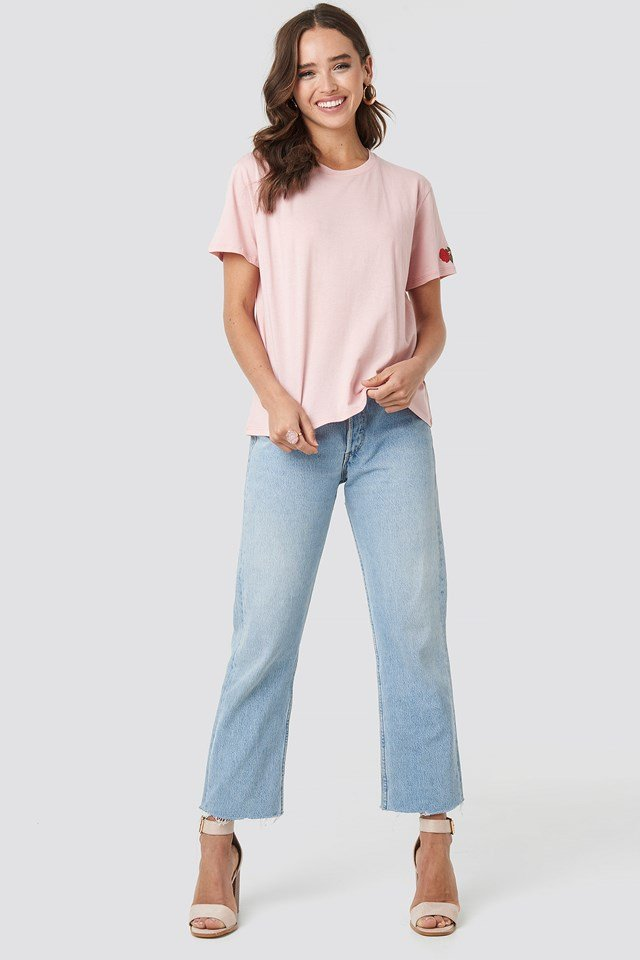 Rose Sleeve Embroidery Tee Pink
