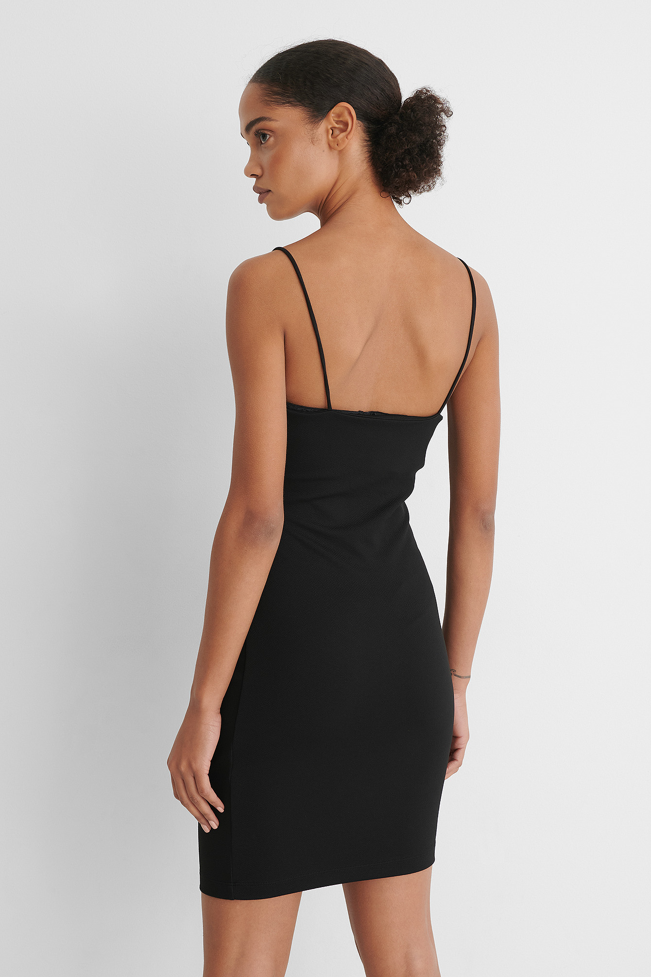 Black Rouched Asymmetric Strap Dress