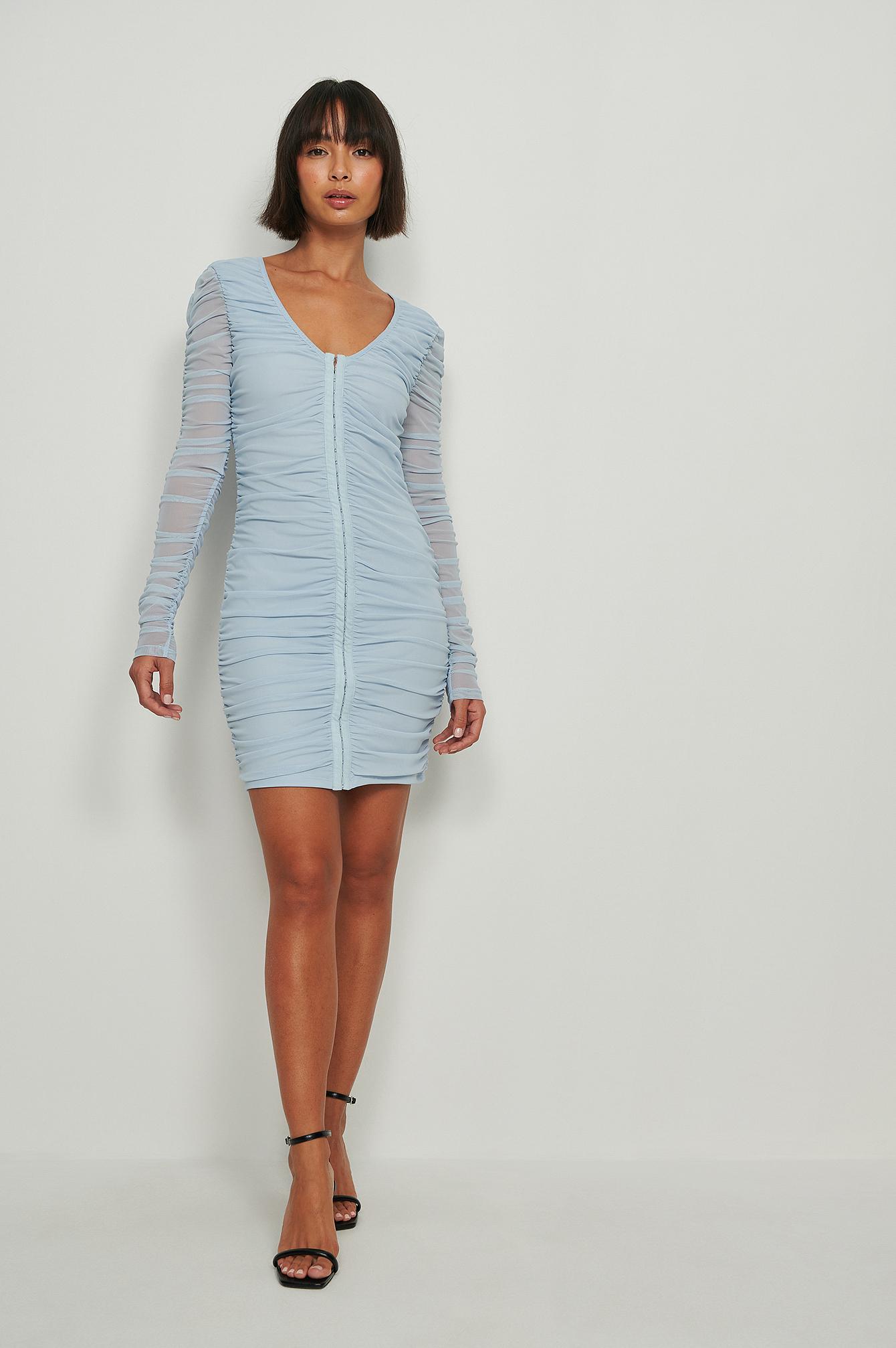 na-kd party -  Kleid Mit Rüschen Am Verschluss - Blue