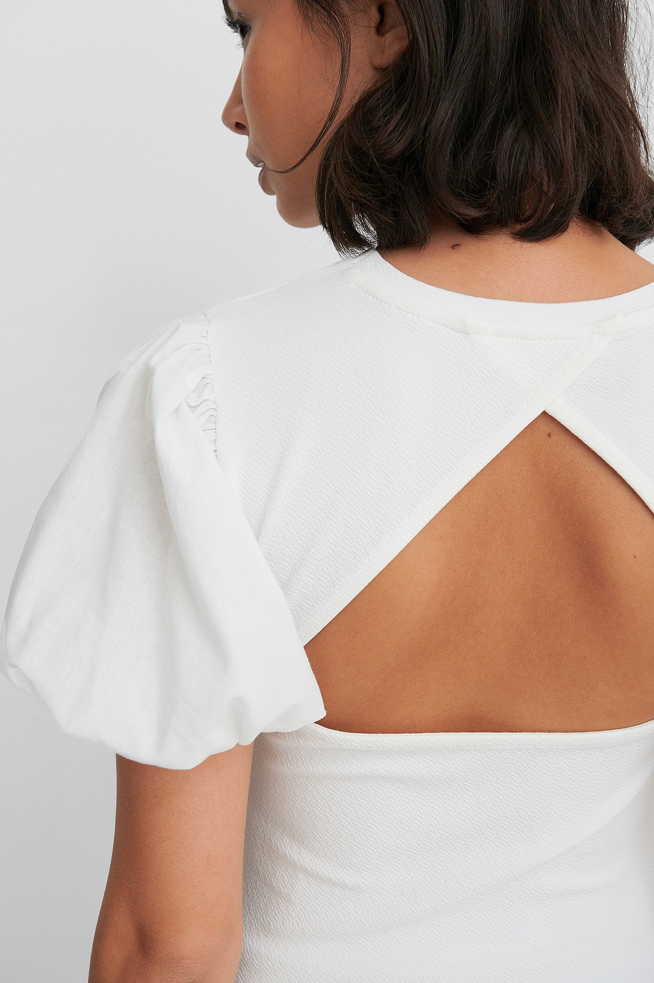 White Rouched Puff Sleeve Top