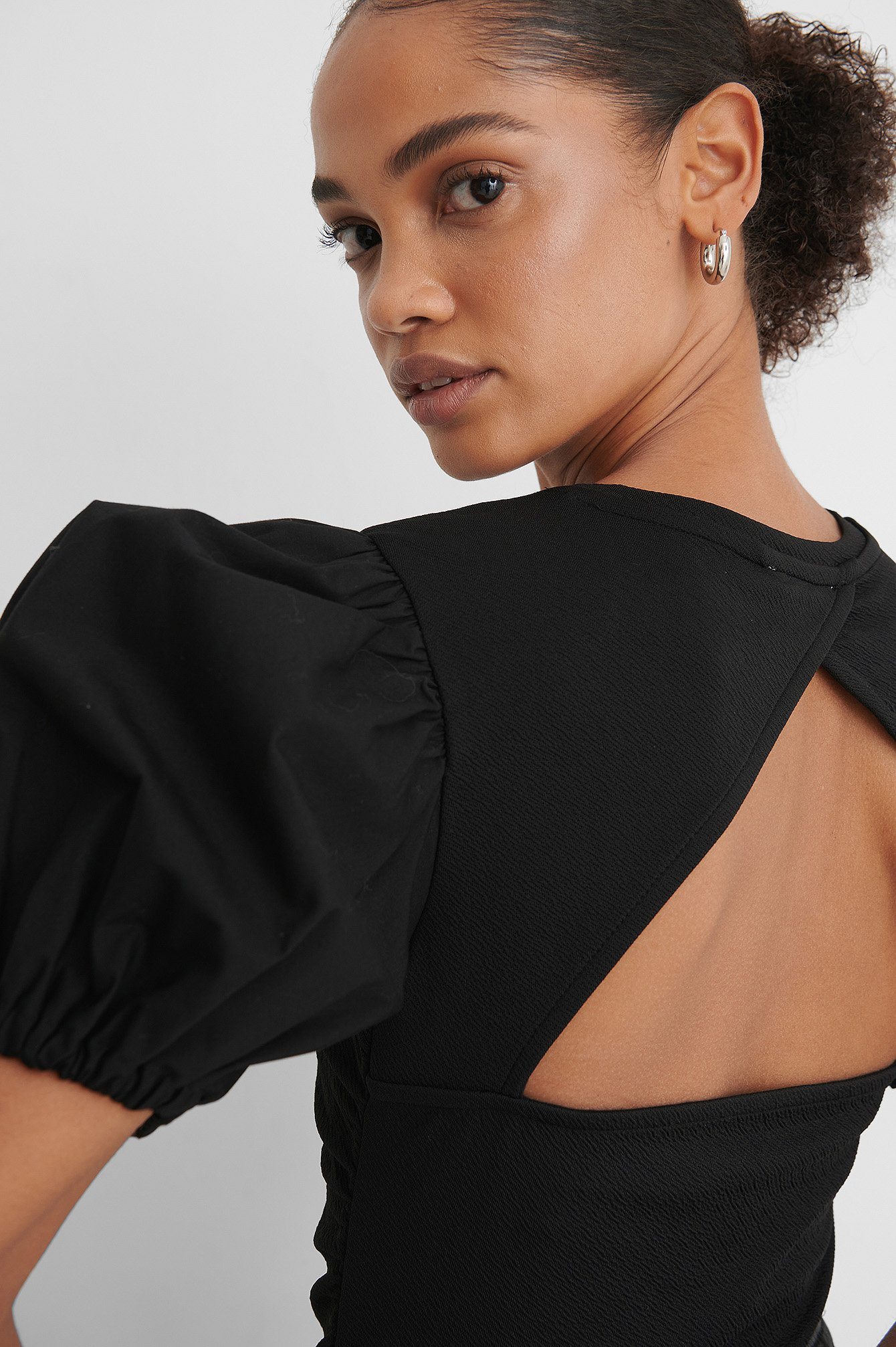 Black Rouched Puff Sleeve Top