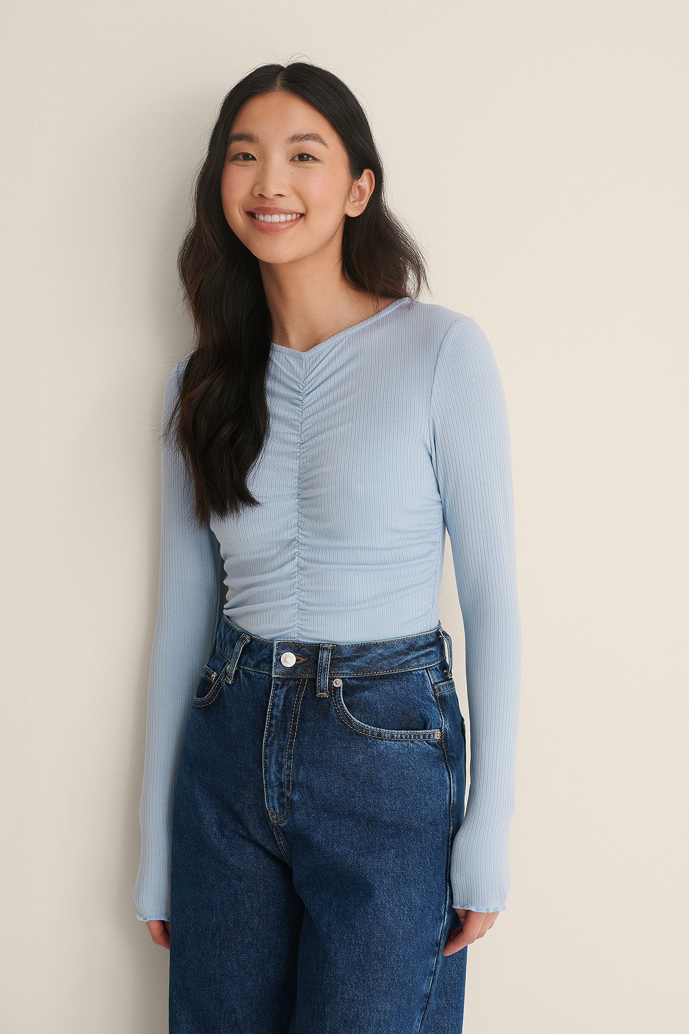 Dusty Light blue Rouched Rib Top