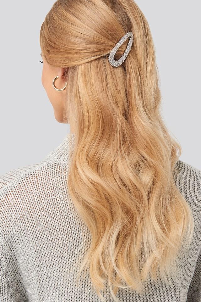Rough Surface Hair Clip Silver