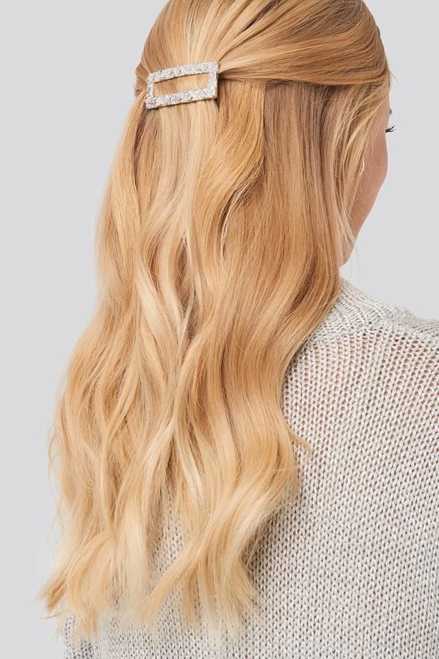 Rough Surface Squared Hair Clip Silver
