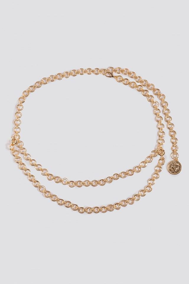 Round Coin Pendant Chain Belt Gold