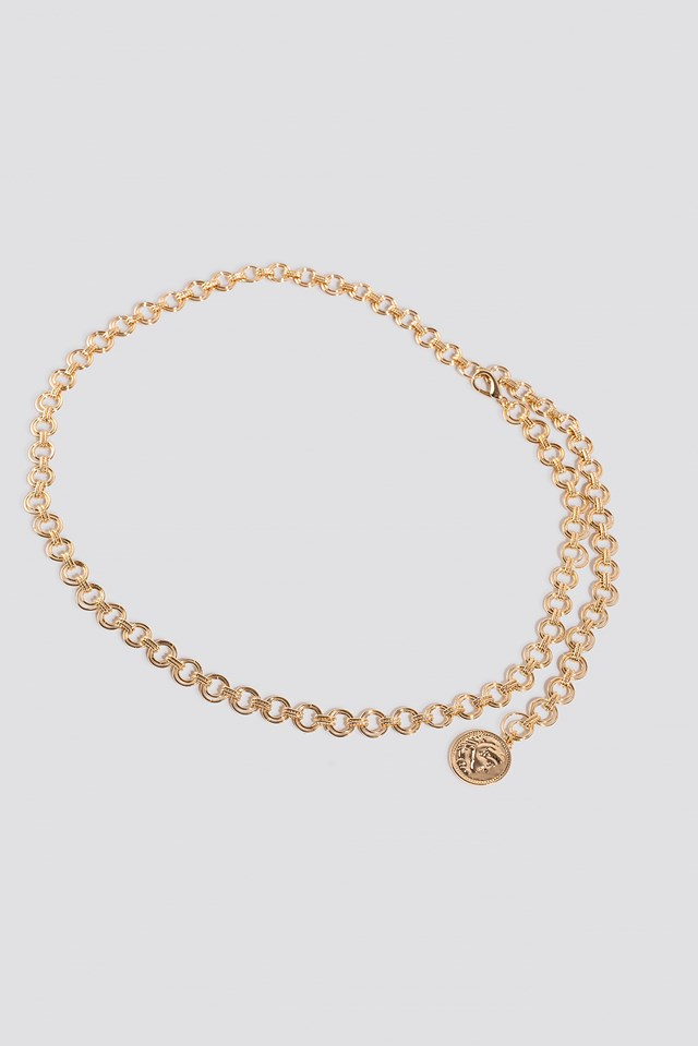 Round Coin Pendant Chain Belt Gold