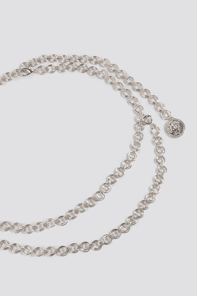 Round Coin Pendant Chain Belt Silver