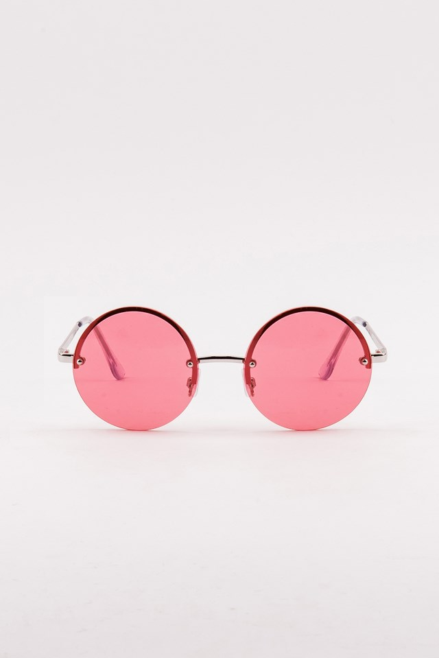Round Colored Sunglasses Pink