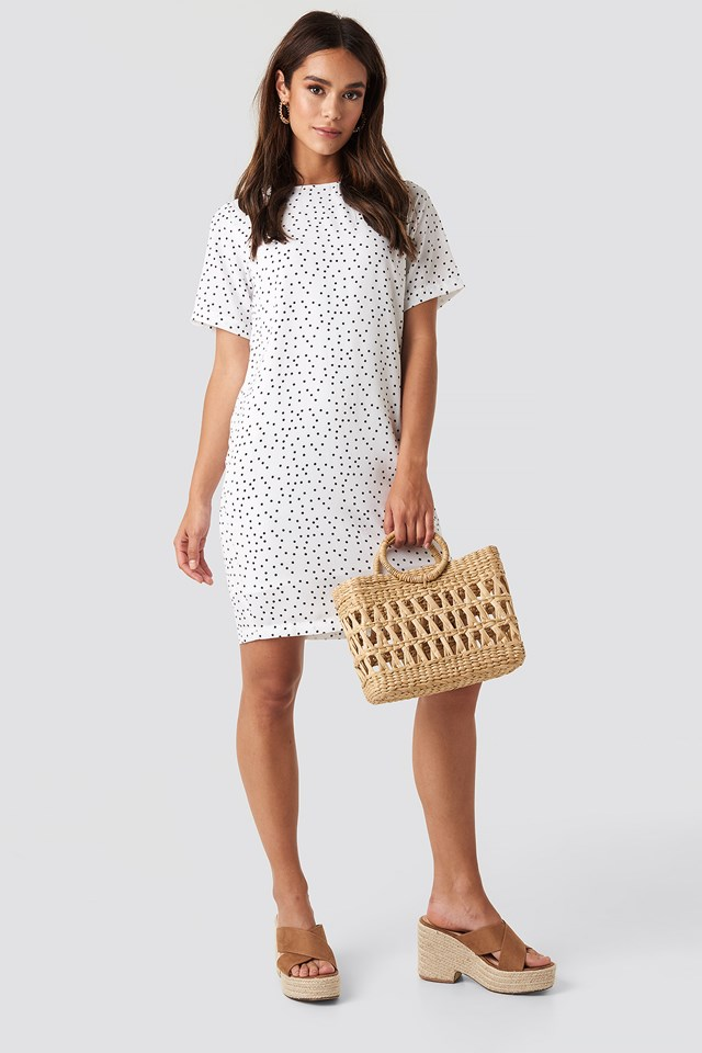 Round Dotted Mini Dress White/Black Dot